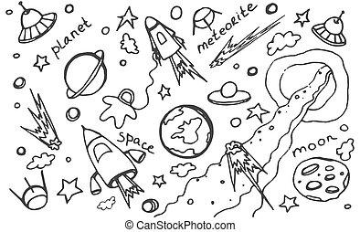 gekritzel, kosmos, vektor, satz