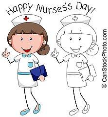 gekritzel, krankenschwester, zeichen, glücklich