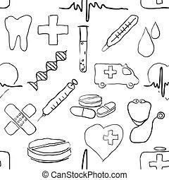 gekritzel, medizin, seamless, muster