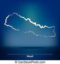 gekritzel, nepal, landkarte