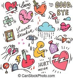 gekritzel, satz, heartbreak