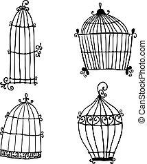 gekritzel, satz, vögel, käfige