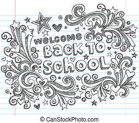 gekritzel, schule, herzlich willkommen, zurück, sternen