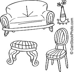 gekritzel, stil, satz, möbel