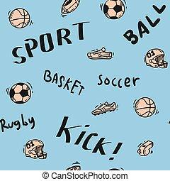 gekritzel, thema, sport, seamless, hintergrund