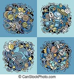 gekritzel, vektor, karikatur, illustration platz