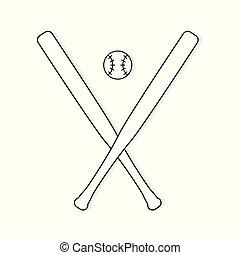 gekruiste, bal, de knuppels van het honkbal