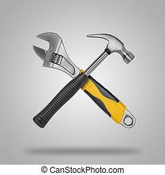 gekruiste, hamer, moersleutel