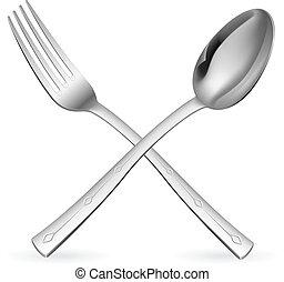gekruiste, vork, en, spoon.