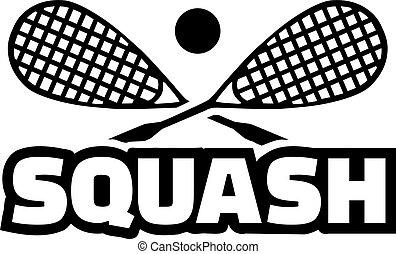 gekruiste, woord, squash, rackets