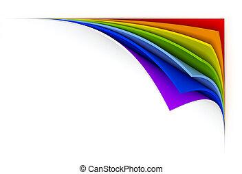 gekrulde, papier, regenboog