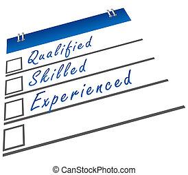gekwalificeerd, bekwaam, ervaren
