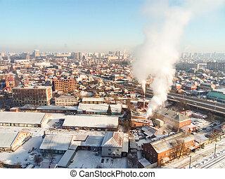 gelée, city., hiver, town., rues, ensoleillé, neige, rises., merveilleux, glacial, fumée, soleil, jour, chaudière
