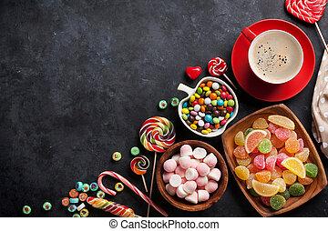 gelée, marmelade, coloré, bonbons, café