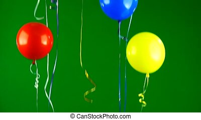 gel balloons move up on green screen