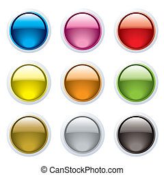 gel button rim - Set of nine gel filled buttons with a white...