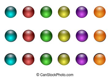 Gel Buttons - Gel buttons in six colors. Three different...