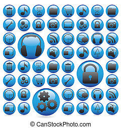 gel buttons in blue