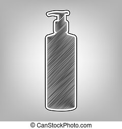 Gel, Foam Or Liquid Soap. Dispenser Pump Plastic Bottle silhouette. Vector. Pencil sketch imitation. Dark gray scribble icon with dark gray outer contour at gray background.