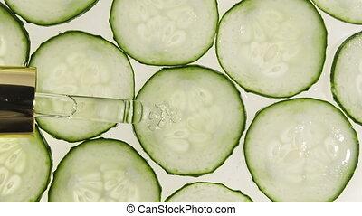 gel, monde médical, naturel, texture., concombre, sérum, plant., cosmétique, pipette
