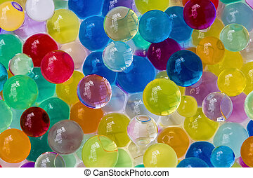 Gel multi-colored balls. Background made with scattered color gel balls