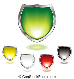 gel shield blend - Five gel filled shields with silver bevel...