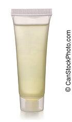 Gel tube - Transparent plastic cosmetics tube isolated on ...