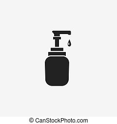 gel washing hand flat black icon