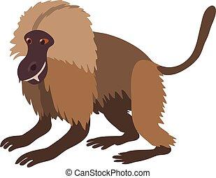 Gelada monkey icon, cartoon style