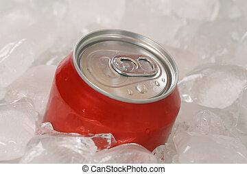 gelado, cubos, lata, gelo, cola