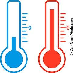 gelado, e, quentes, temperatura, vetorial, ícone