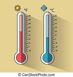 gelado, e, quentes, termômetro, temperatura