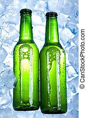 gelado, garrafas, cerveja