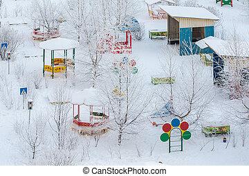 gelado, inverno, dia, pátio recreio
