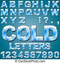 gelado, letras, gelo