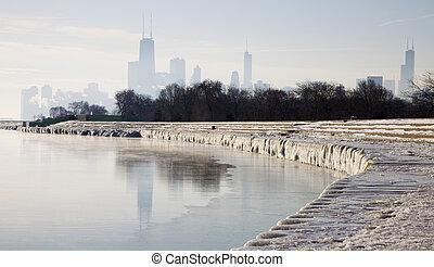 gelado, manhã, chicago