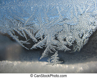 gelado, padrão, ligado, inverno, janela