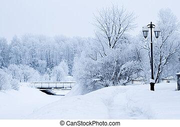 gelado, rua, paisagem inverno