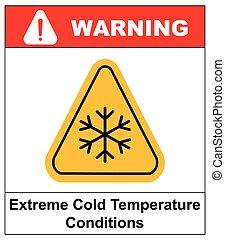 gelado, sinal aviso, neve, aviso, -, triangular, sinal, vetorial, ilustração