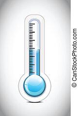 gelado, termômetro