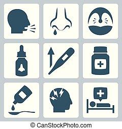 gelado, vetorial, gripe, relatado, ícones
