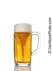 gelado, vidro, luz, cerveja, com, whirlpool, isolado, ligado, um, fundo branco