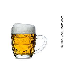 gelado, vidro, luz, cerveja, isolado, ligado, um, fundo branco