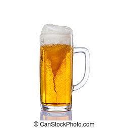 gelado, vidro, luz, cerveja, jogo, isolado, ligado, um, fundo branco