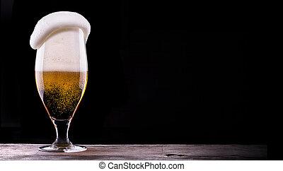 gelado, vidro, luz, cerveja, ligado, experiência preta