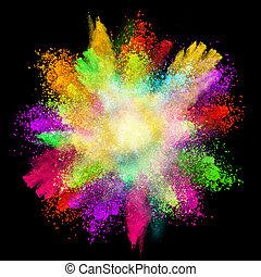 gelanceerd, kleurrijke, poeder