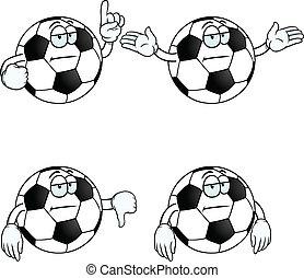 gelangweilte , satz, karikatur, fußball