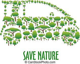 gelassen, auto, symbol, bäume, ökologisch, grün