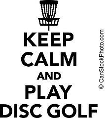 gelassen, behalten, golfen, scheibe, spielen