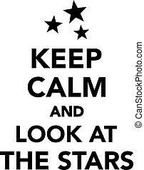 gelassen, blick, sternen, behalten